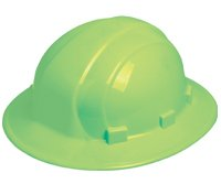 ERB Hi Vis Lime Green Omega II Full Brim Rachet Hard Hat