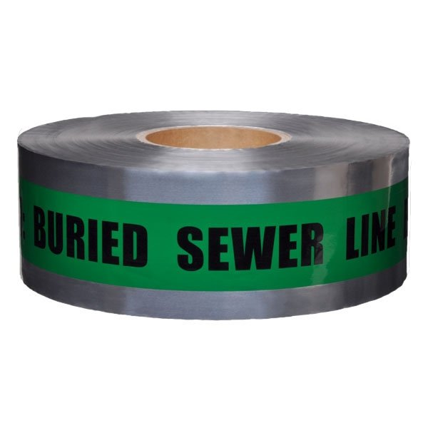Caution Buried Sewer Line Below - Detectable Underground Tape