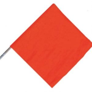 "Handheld Orange Warning Flag 18"" Vinyl"