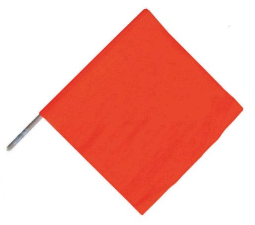 "Handheld Orange Warning Flag 18"" Vinyl"