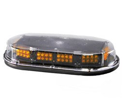 Low Profile Amber LED Vehicle Mini-Light Bar w/Perm. Mount
