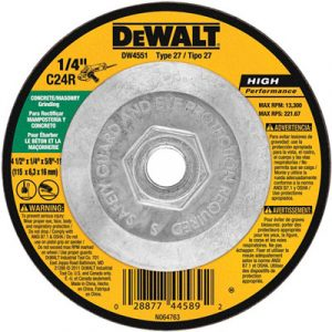 """Dewalt DW4551 Type 27 Masonry Grinding Wheel 4.5"""" x 1/4"""" x 5/8""""-11"""