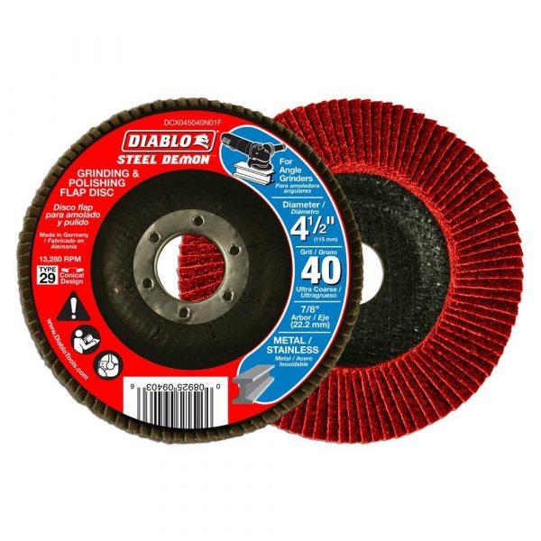 """Diablo Steel Demon 40-Grit Grinding & Polishing 4.5"""" Flap Discs - 5-Pack"""