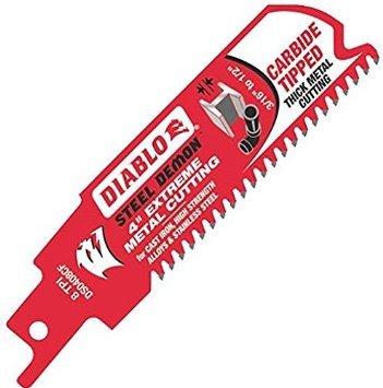 "4"" Metal Cutting 8TPI - Diablo Steel Demon Carbide-Tipped Reciprocating Blade - DS0408CF"